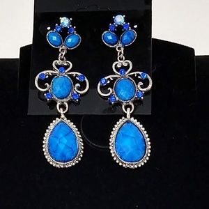 Blue and Goldtone Post Earrings